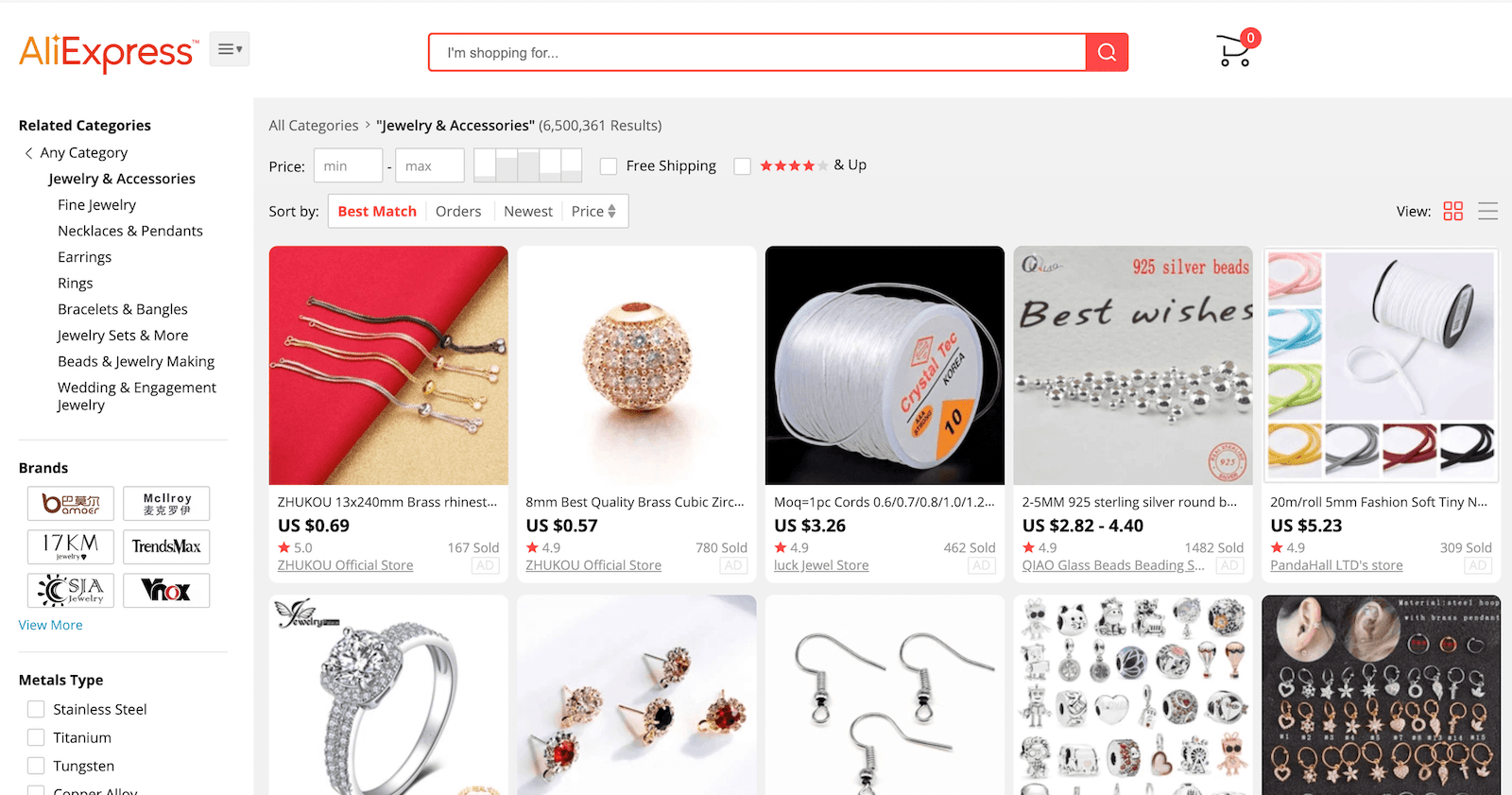 Screenshot of the Aliexpress website