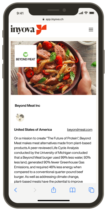 Screenshot showing the company Beyond Meat on the Inyova app