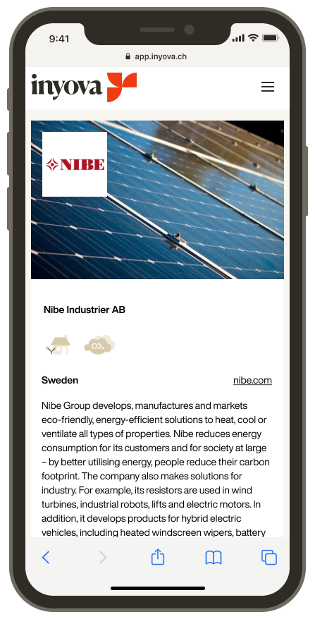 Screenshot showing the company Nibe on the Inyova app