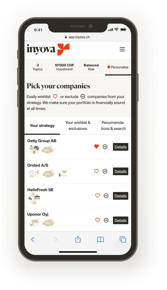 Screenshot showing how to select your companies with Inyova