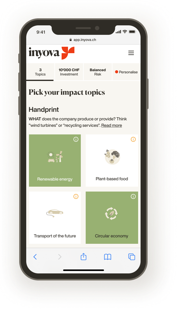 Screenshot showing how to pick impact topics for your Inyova strategy